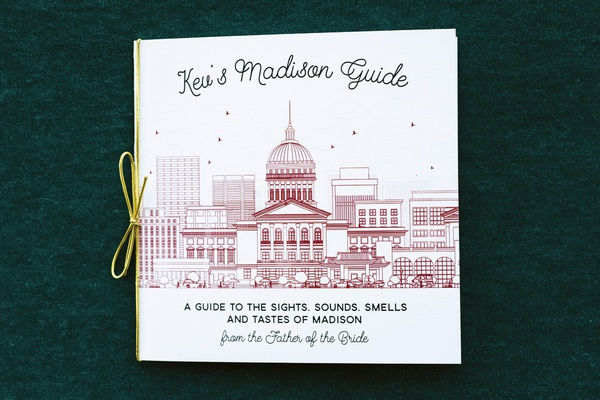 white booklet with illustration of madison capitol building as guide to out-of-town wedding guide