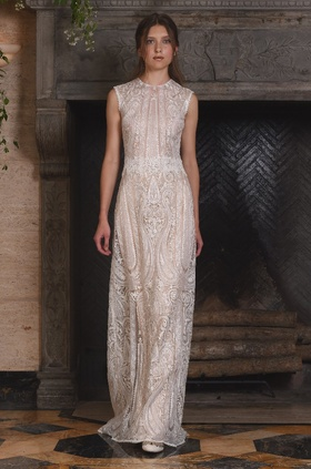 Claire Pettibone Four Seasons Couture Collection Solstice lace sheath bridal gown jewel neckline