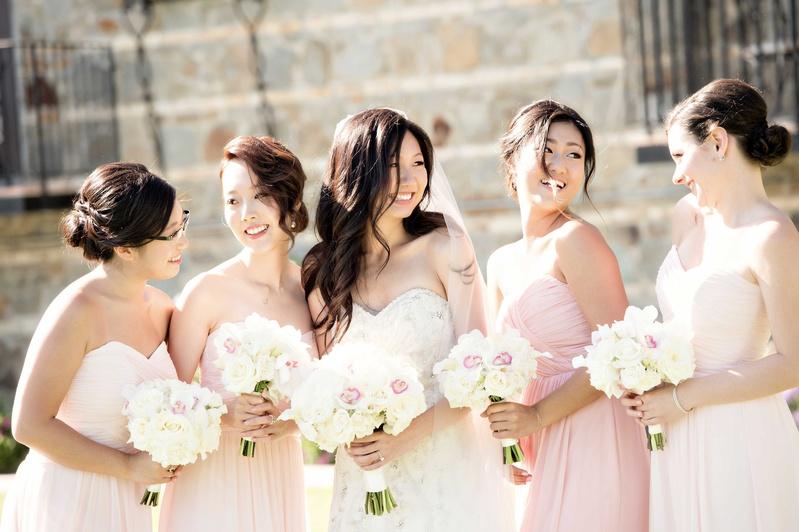 5fc41602a bridesmaids light blush smiling bride bouquets classic bun up-do hairstyles  candid wedding photo fun