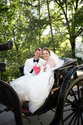 newlyweds back carriage west virginia wedding vera wang dress white tux jacket happy love