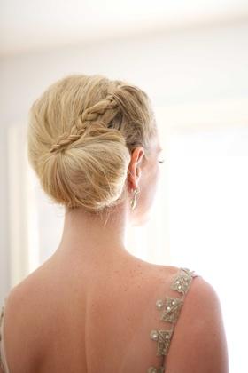 braided side bun classic bridal hairstyle blonde hair wedding bridal look beauty