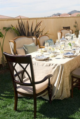 Plush chairs and long table