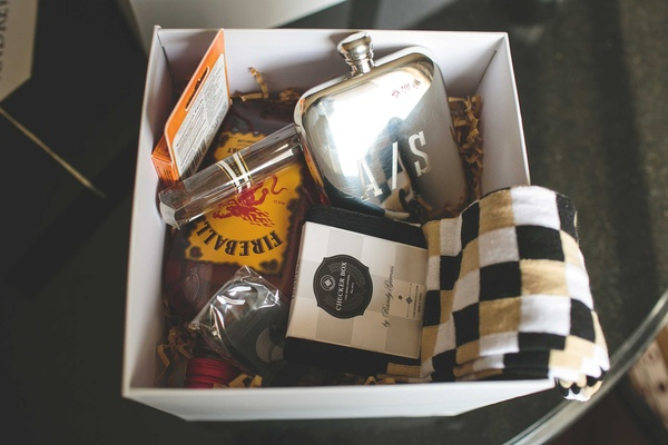 Gift box for groom and groomsmen with Fireball whiskey, monogram flask, cigar, checker box socks