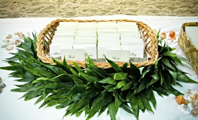 Green garland around basket of seating cards
