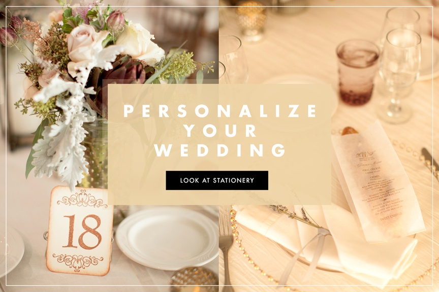 Stationery details lend another element to the celebration's décor. Learn how to personalize your we