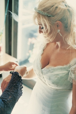 Beaded wedding dress and jewelry