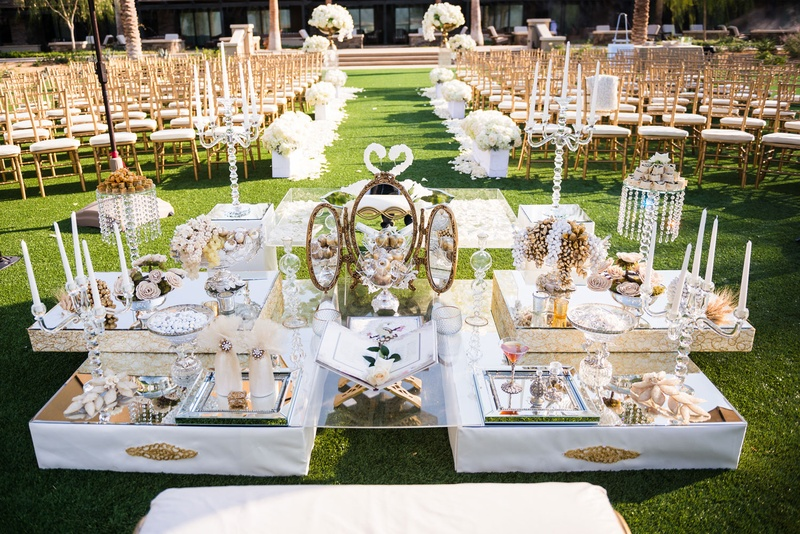 Ceremony decor photos sofreh aghd at outdoor wedding for Persian wedding ceremony table