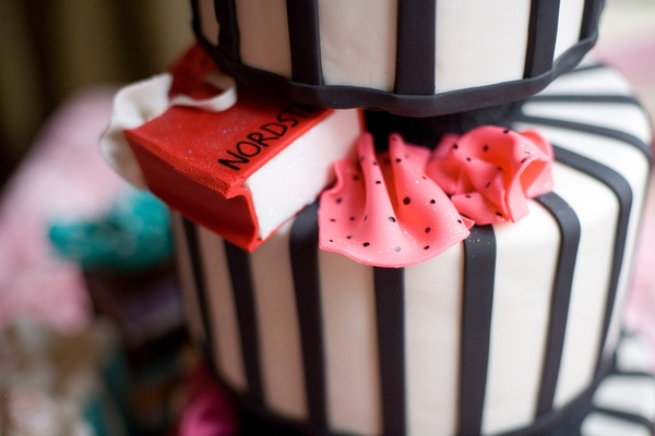 black and white stripes cake