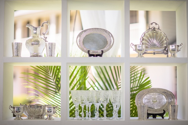 silver serving platters and pitchers, crystal glassware