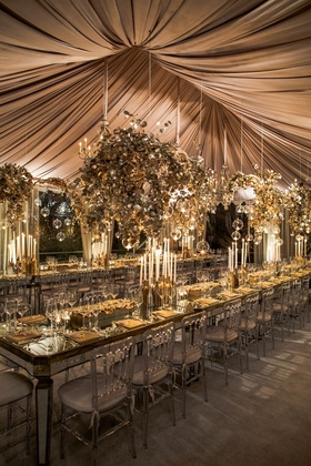 A tented reception at a private estate in Los Angeles.