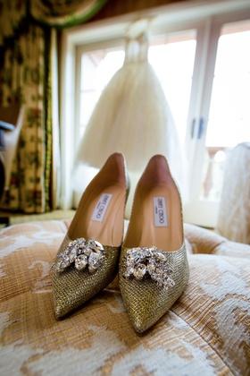 Bride's Jimmy Choo wedding shoes gold metallic fabric with rhinestone crystals at toe
