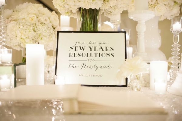 Guest book idea for New Year's Eve wedding New Year's resolutions sign for years to come