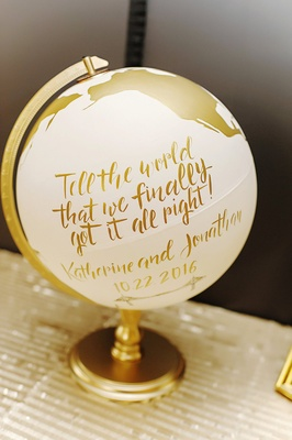 wedding guest book ivory globe painted with gold