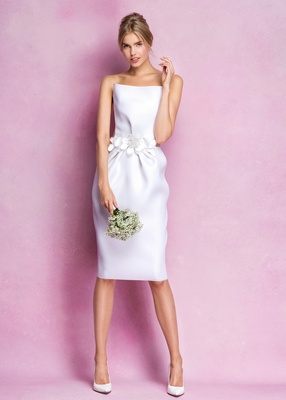 Sheath Dress By Angel Sanchez With A Floral Waistband