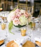 blush roses, ivory hydrangeas, amaranthus gold votives
