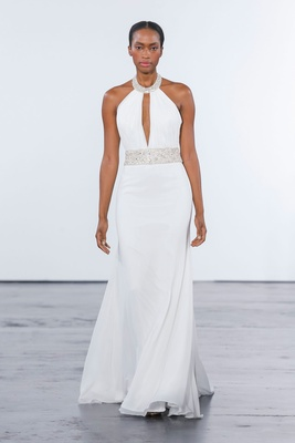 Dennis Basso for Kleinfeld 2018 collection wedding dress halter gown sash beading neckline