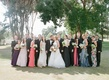 Bride and groom in Ojai with tuxedo groomsmen and bridesmaids