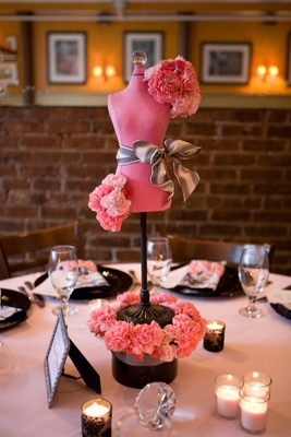 pink and black mannequin centerpiece
