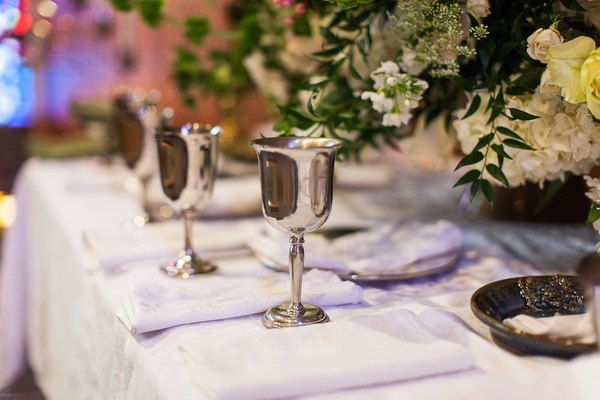 Goblets and white napkins on church altar
