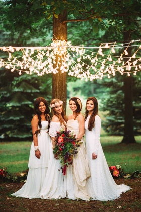 Brides with bohemian dresses and braids