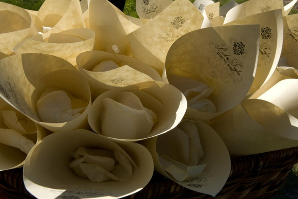 Ivory paper cones filled with rose petals