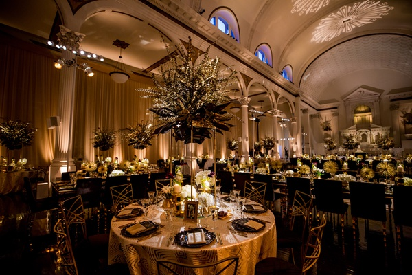 vibiana wedding reception black and gold art deco
