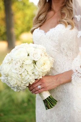 Bridal bouquet with white wedding flowers rose and hydrangea