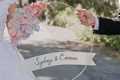 wedding day accessory photo prop circle with flowers made of paper banner with couple names