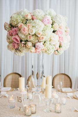 Rustic elegant wedding reception tall glass vase with white hydrangea pink rose blush rose pillar