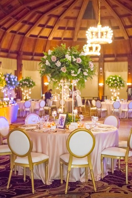 round tablescape tall centerpiece gilt chairs wedding reception hotel del coronado photos