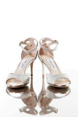 wedding shoes silver glitter heels peep toe pumps ankle straps jimmy choo designer heels