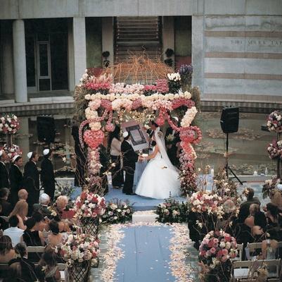 Floral-embellished Jewish chuppah altar