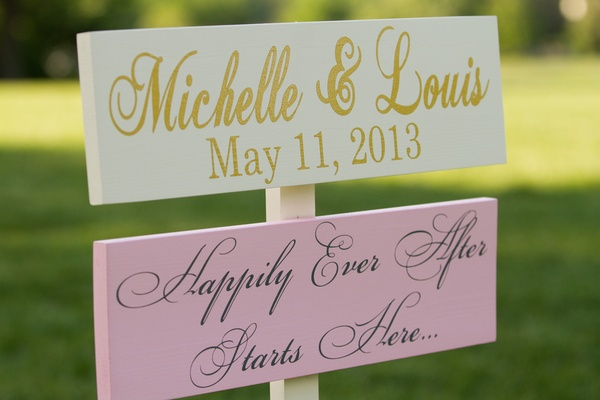 Painted wood signs with wedding date and quote