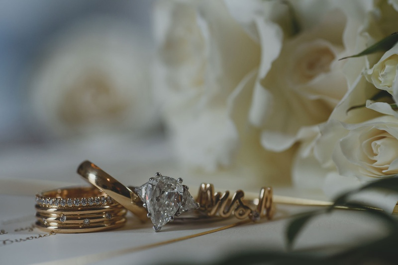 custom mrs gold ring with script and teardrop diamond engagement ring from mother of bride side late