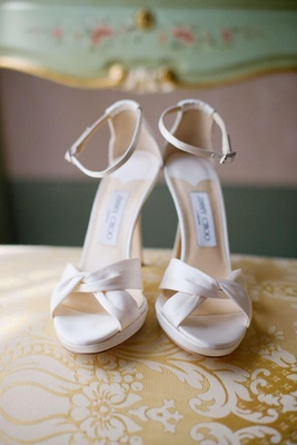 Jimmy Choo white wedding heels with ankle strap