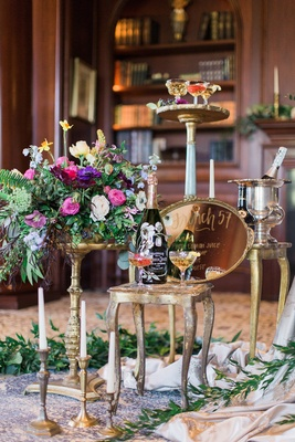 drink station with gold platter sign Perrier-Jouet, coupe champagne glasses