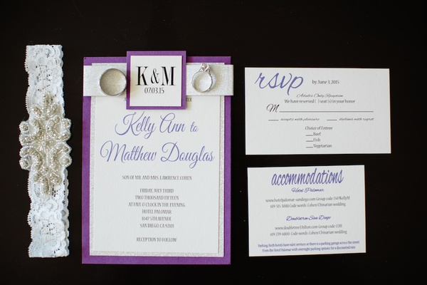 Wedding Invitation Suite With Purple And Silver Border Invitation, Coupleu0027s  Initials, Rsvp Card ...