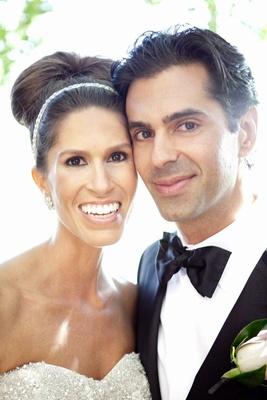 Upclose portrait of couple on wedding day