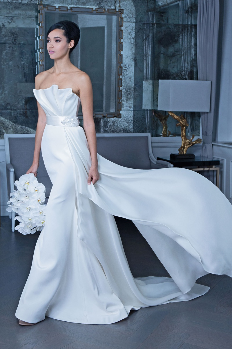 Romona Keveža fall 2019 bridal collection wedding dress RK9507 Strapless gown draped bodice