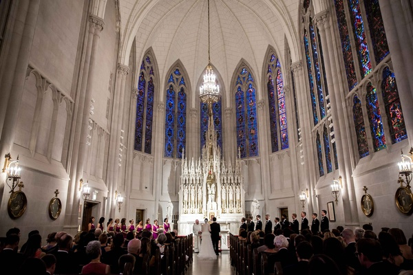 st. james chapel wedding, catholic wedding, stained glass windows wedding ceremony