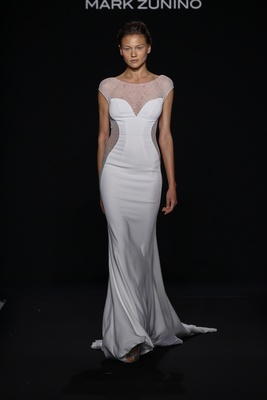 Mark Zunino for Kleinfeld 2016 cap sleeve wedding dress with illusion neckline and side panels