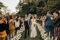 bride and groom walk up aisle as husband and wife seattle jewish ceremony puget sound cute couple