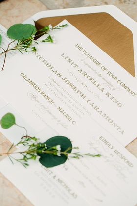 White square wedding invitation suite, gold foil envelope by East Six