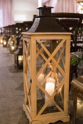 candle in wooden lantern wedding