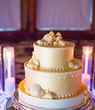 three 3 tier cold cake sea concept shells seahorses