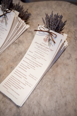 Wedding ceremony rectangle card with dry lavender