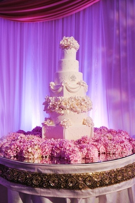 Fresh pink hydrangeas on cake table with seven layer cake