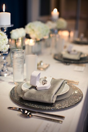 Silver tablescape with ivory flowers