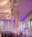 brendan haywood nba player wedding reception purple lighting candles white flowers drapery