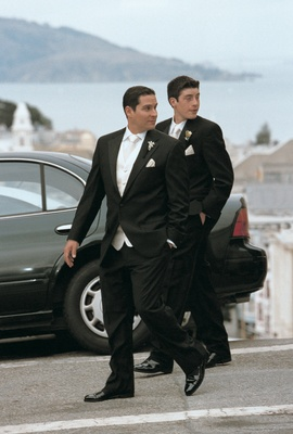 male wedding party members wearing white ties